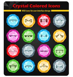 bridges icons set vector image