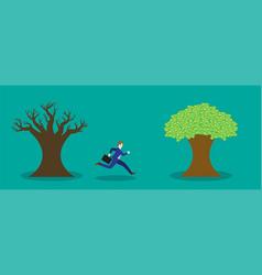 Businessman running to money tree vector