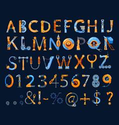 Cartoon mechanics and robots font kids alphabet vector