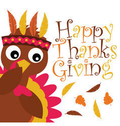 Cartoon with cute turkey besides maple leaves vector