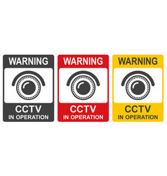 cctv in operation sign in two colors vector image