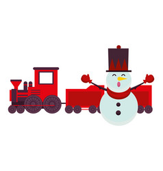 christmas snowman with train character vector image
