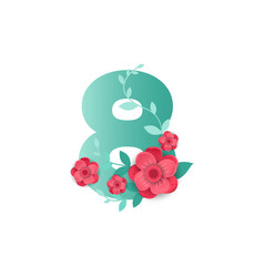 color number 8 with beautiful flowers vector image