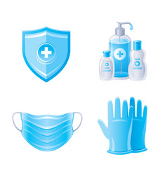 Corona virus covid 19 protection icon set vector