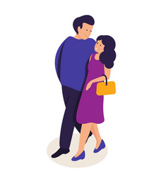 couple in love hugging flat vector image