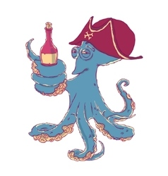 Cunning octopus-pirate with a bottle alcohol in vector