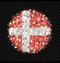 denmark flag sparkling badge vector image