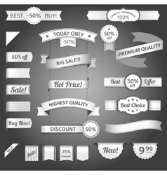 Discount retro ribbon paper set vector image