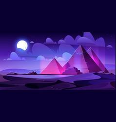 egypt pyramids night desert egyptian pharaoh tomb vector image