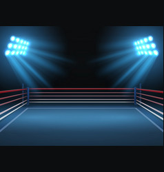 Empty wrestling sport arena boxing ring dramatic vector
