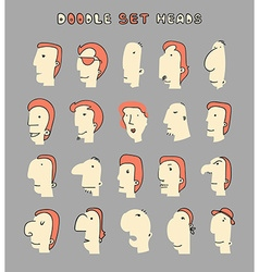 Face Boy Set of 20 different avatar men characters vector image