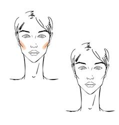 Face chart Makeup vector image