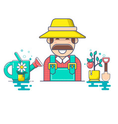 Farmer and gardener character vector