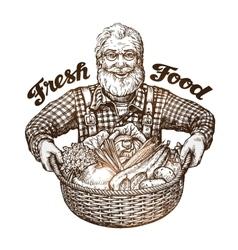 Farmer with basket of fresh vegetables sketch vector