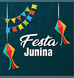 festa junina flags lantern dark blue background ve vector image
