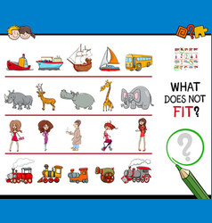 Find picture not fit in a row educational game vector