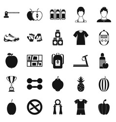 fitness center icons set simple style vector image