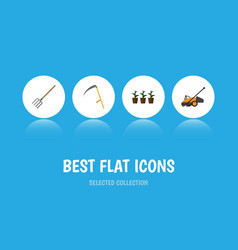 Flat icon farm set of cutter hay fork flowerpot vector