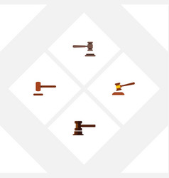 Flat icon lawyer set of defense hammer vector