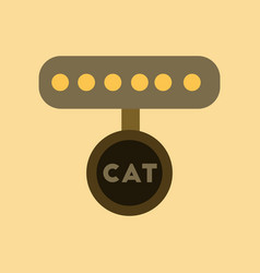Flat icon on background cat collar vector