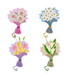 Flowers bouquets set vector