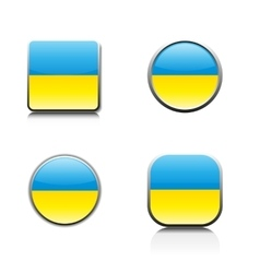 Glass buttons with a Ukrainian flag vector image