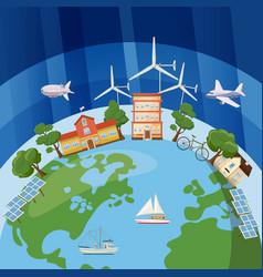 global ecology concept cartoon style vector image