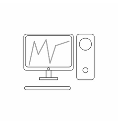 Graph in computer screen icon thin line style vector image