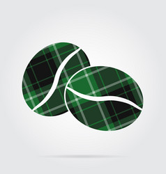 Green black tartan icon - two coffee beans vector