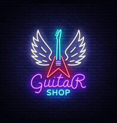 guitar shop neon sign design template vector image
