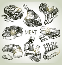 Hand drawn sketch meat products set black and vector