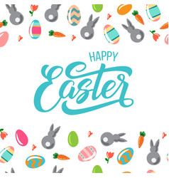 happy easter text with easter eggs nad rabbits vector image