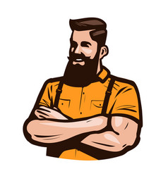Happy hipster with arms crossed on chest cartoon vector