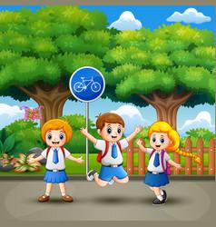 happy school children in the city park vector image