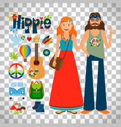 Hippie woman and man with guitar vector