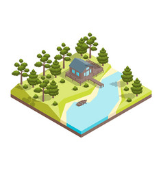 house forest lake concept 3d isometric view vector image