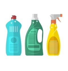 Household chemistry cleaning plastic bottles vector