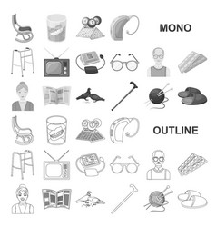 Human old age monochrom icons in set collection vector