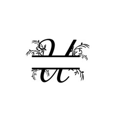 Initial u decorative plant monogram split letter vector