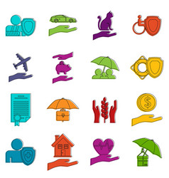 Insurance icons doodle set vector