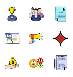 Interview icons set cartoon style vector