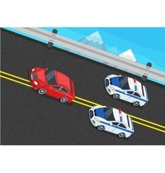 Isometric Police Fines Car design Flat Isolated vector