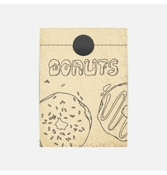 Kraft paper takeaway bag mockup in vector