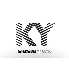 Ky k y lines letter design with creative elegant vector