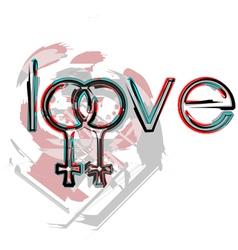 Lesbian love symbols vector image