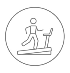 Man running on treadmill line icon vector image