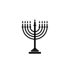 Menorah icon black on white background vector