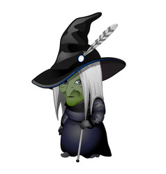 Old witch with green face and walking stick vector