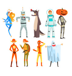 People in carnival costumes set funny persons vector