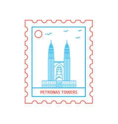 petronas towers postage stamp blue and red line vector image